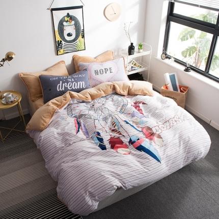 宜代光年 2018棉加法莱绒平网大版床单款四件套 捕梦人生