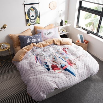(总)宜代光年 2018棉加法莱绒平网大版床单款四件套