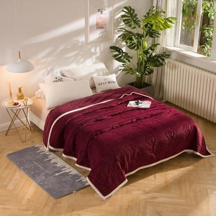 瑞米家纺 牛奶绒盖毯毛毯酒红