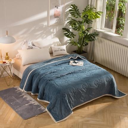 瑞米家纺 牛奶绒盖毯毛毯蓝色
