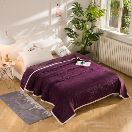 瑞米家纺 牛奶绒盖毯毛毯紫色