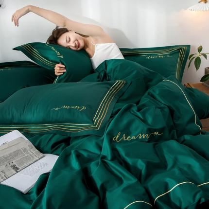 瑞米 60长绒棉素色绣工艺系列四件套 律动