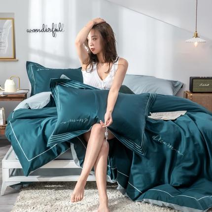 瑞米 60长绒棉素色绣工艺系列四件套 素年