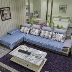 豹子垫业 2019新款富贵棉小白边沙发垫 富贵棉-蓝色星星