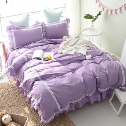 锦色家纺 全棉套件床裙款遇见系列遇见紫色