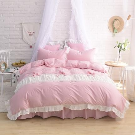 锦色家纺 全棉套件床裙款甜美系列甜美粉色