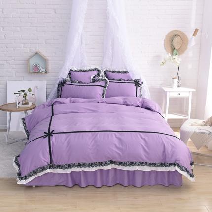 锦色家纺 全棉套件床裙款婉约系列 婉约紫色