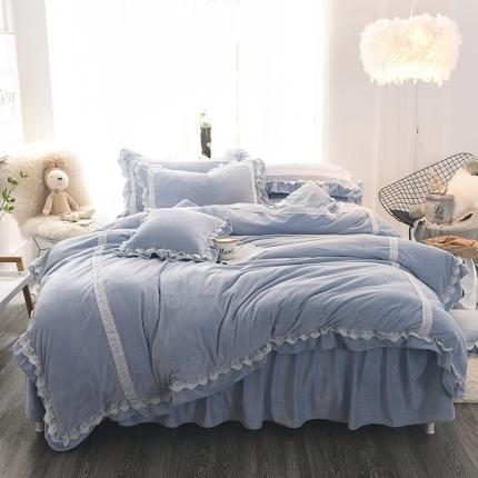 锦色家纺 水晶绒四件套床裙款遇见系列蓝色