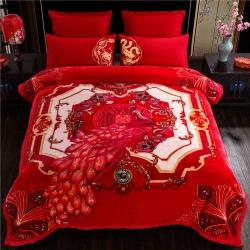 凤凰林毛毯 2018新款大红婚庆云毯毯子 鸾凤和鸣