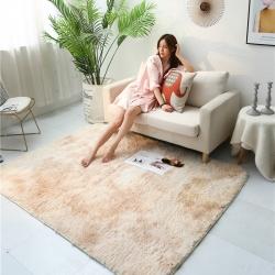 鳳凰林2019新款方形長毛扎染地墊地毯客廳墊腳墊卡其色-方形