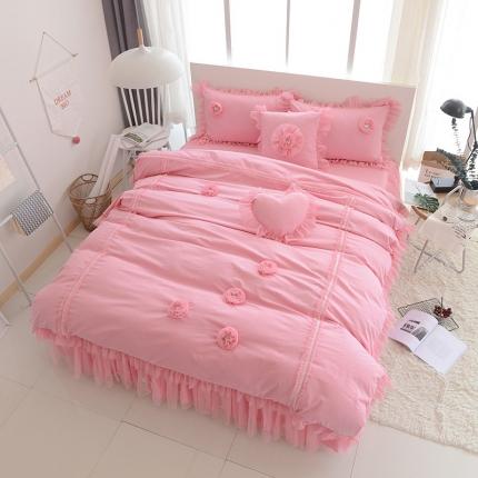 玉儿纺 韩版全棉田园公主风床裙款四件套醉爱(两色)粉色