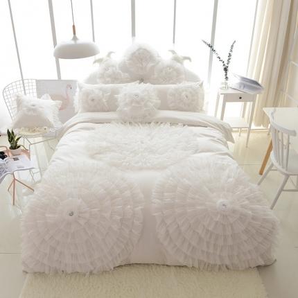 玉儿纺 韩版全棉田园公主风床裙款四件套三生三世(六色) 白色