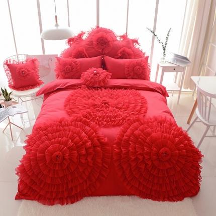 玉儿纺 韩版全棉田园公主风床裙款四件套三生三世(六色) 红色