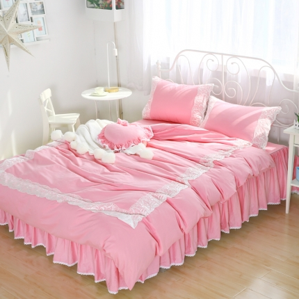 玉儿纺 韩版全棉田园公主风床裙款四件套(七色)美人吟-粉色