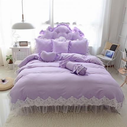 玉儿纺 韩版田园公主风床裙款欢乐颂(四色)四件套夹棉款紫色