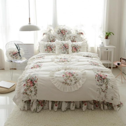 玉儿纺  韩版全棉田园公主风床裙款纯爱四件套 纯爱米白