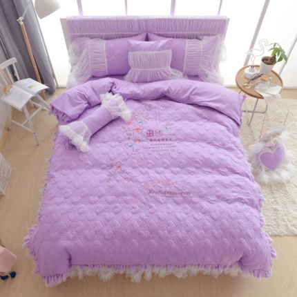 玉儿纺  韩版加厚磨毛绣花-甜蜜味四件套 甜蜜味紫
