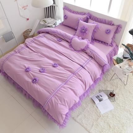 玉儿纺 韩版全棉田园公主风床裙款四件套醉爱(两色)紫色