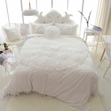 玉儿纺 韩版全棉田园公主风床裙款四件套一生一世(六色)白色