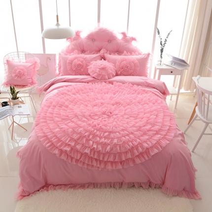 玉儿纺 韩版全棉田园公主风床裙款四件套一生一世(六色) 粉色