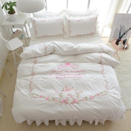 玉儿纺 韩版全棉田园公主风床裙款四件套田园(五色)米白