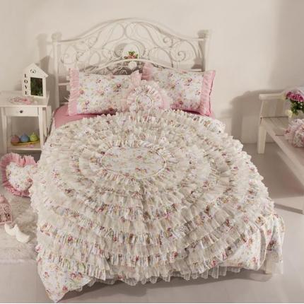 玉儿纺 韩版全棉田园公主风床裙款四件套浪漫花都粉色