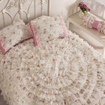 (总)玉儿纺 韩版全棉田园公主风床裙款四件套浪漫花都
