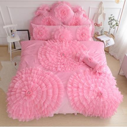 玉儿纺 水晶绒床裙款 三生三世  粉红色