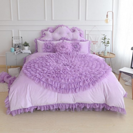 玉儿纺 水晶绒床裙款 一生一世 紫色