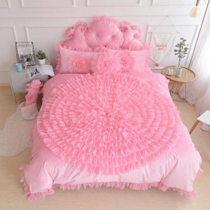 玉儿纺 水晶绒床裙款 一生一世  粉红色