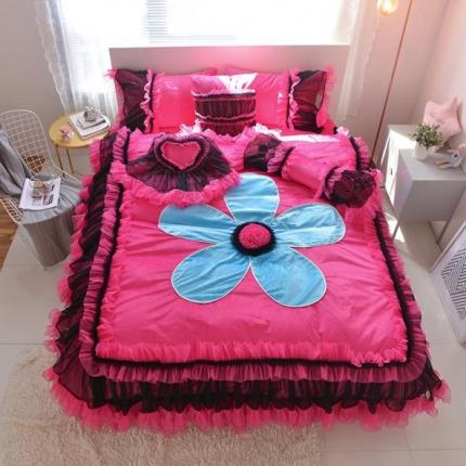 玉儿纺 韩版水晶绒绒款四件套床裙款-告白气球-玫红