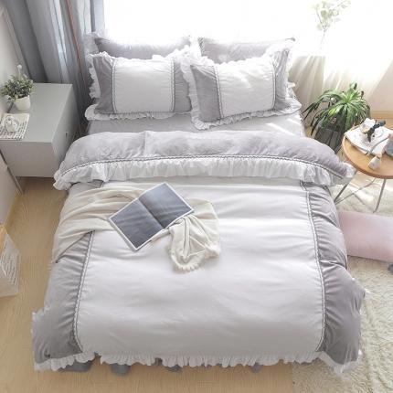 玉儿纺 韩版水晶绒绒款四件套床裙款-星晴-灰