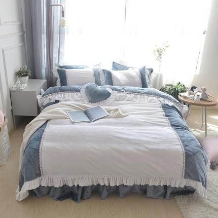 玉儿纺 韩版水晶绒绒款四件套床裙款-星晴-蓝