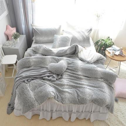 玉儿纺 韩国泡泡兔兔绒四件套床裙款 清新灰