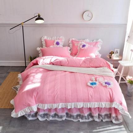 玉儿纺 2018全棉绗缝系列四件套床裙款-花仙子 粉红色