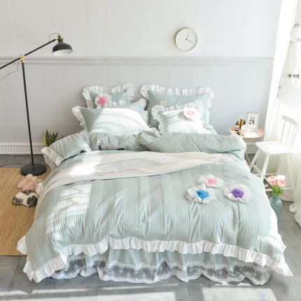 玉儿纺 2018全棉绗缝系列四件套床裙款-花仙子 豆绿色
