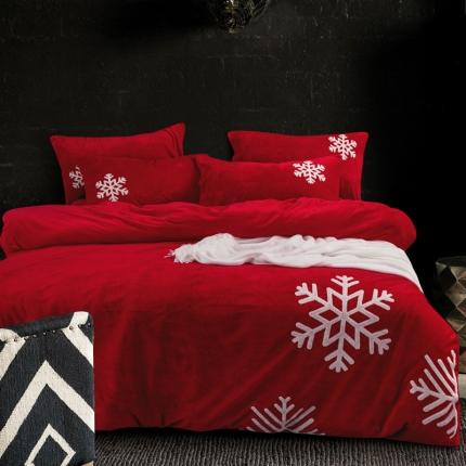 摩妮卡 欧式毛巾绣刺绣水晶绒宝宝绒四件套床单款 雪纷飞-大红