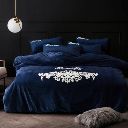 摩妮卡 欧式毛巾绣刺绣水晶绒宝宝绒四件套床单款 莺歌蝶舞-蓝