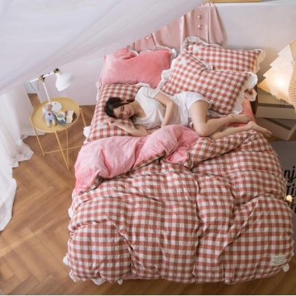 摩妮卡 2017韩版水洗棉法兰绒四件套 小格-粉红