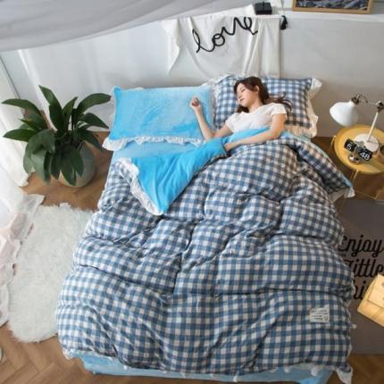 摩妮卡 2017韩版水洗棉法兰绒四件套 小格-天蓝