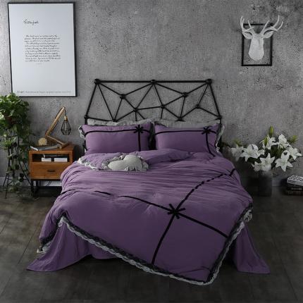 梦博妮家纺 纯色韩版蕾丝花边四件套纯色水洗棉四件套 魅惑紫