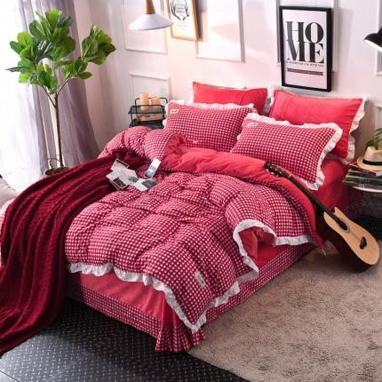 梦博妮家纺 水洗棉格子水晶绒四件套 公主风格-红
