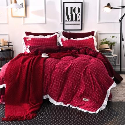 梦博妮家纺 水洗棉格子水晶绒四件套 英伦格调-红