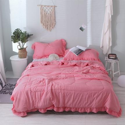 梦博妮 新品双层花边水洗棉夏被三件套爱丽丝-玫红