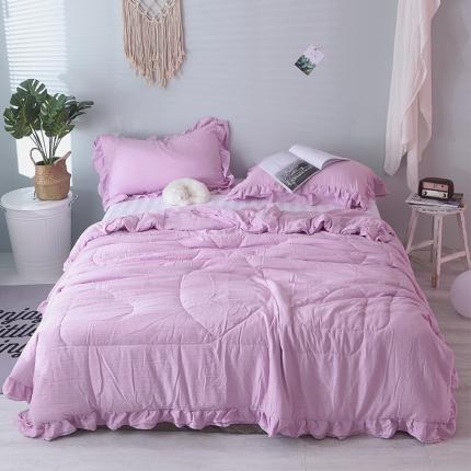 梦博妮 新品双层花边水洗棉夏被三件套爱丽丝紫