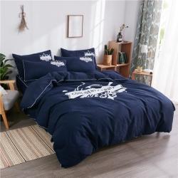 伊家紡 簡約韓版加厚磨毛純色床笠款床罩四件套 航海家-藏藍