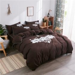 伊家紡 簡約韓版加厚磨毛純色床笠款床罩四件套 航海家-咖