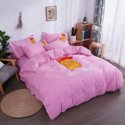 伊家紡 簡約韓版加厚磨毛純色床笠款床罩四件套 小黃鴨-粉色