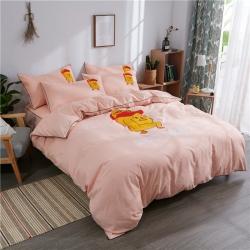 伊家紡 簡約韓版加厚磨毛純色床笠款床罩四件套 小黃鴨-玉色
