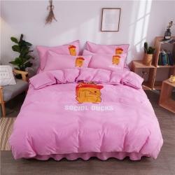 伊家纺 简约韩版加厚磨毛纯色床裙款床罩四件套 小黄鸭-粉色